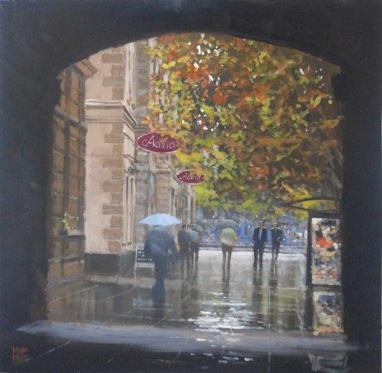 Mike Barr pinturas cidades australianas na chuva impressionista triste