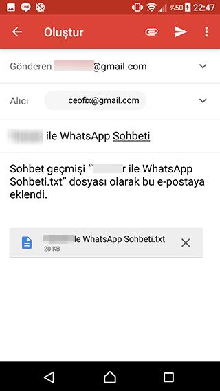 sohbet geçmişi gmaile gönder