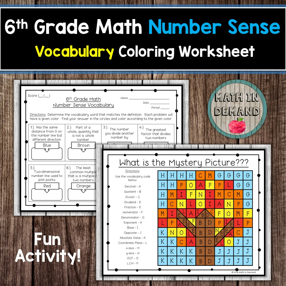 medium resolution of 6th Grade Math Vocabulary Coloring Worksheets
