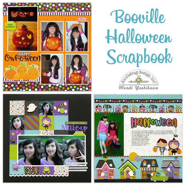 Doodlebug Design Booville Halloween Scrapbook Layouts Pages by Mendi Yoshikawa