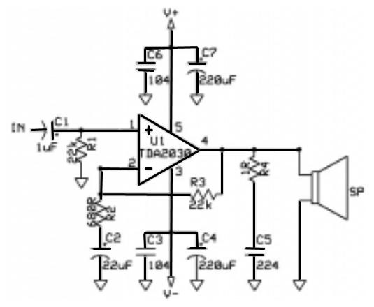 skema rangkaian amplifier ic tda 2030