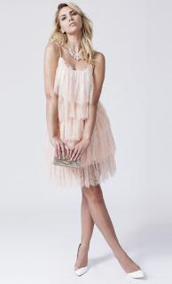Rochie de ocazie din dantela, rochie de ocazie cu volanase, rochie cu volanase roz pal