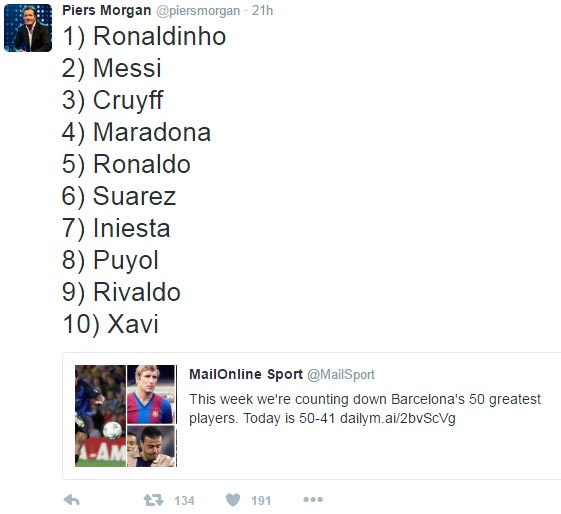 Barcelona's greatest players ever: Ronaldinho better than Messi according to Piers Morgan