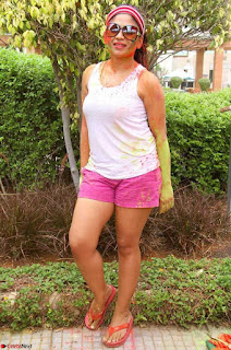 Madhulagna Das Playing Holi Celebrations in white Tank Top 06.jpg