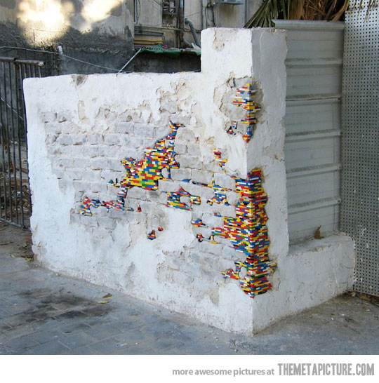 wall repaired with lego