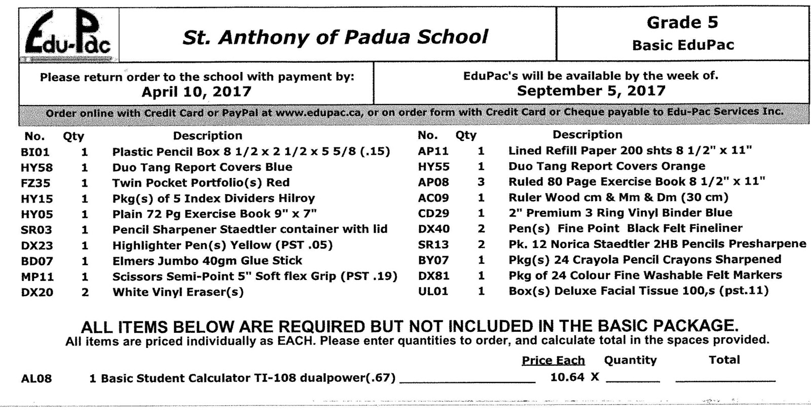 St. Anthony of Padua - Grade Five: August 2017 on pa forms, rca forms, pca forms, dual forms,