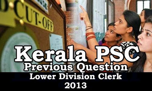 Kerala PSC - Previous Question Paper Lower Division Clerk