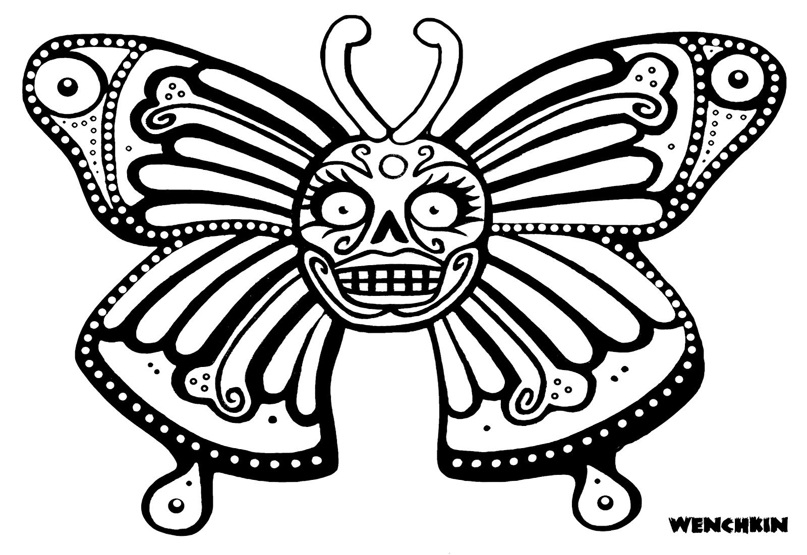 dog sugar skull coloring pages | Yucca Flats, N.M.: Wenchkin's coloring pages - Skullerfly