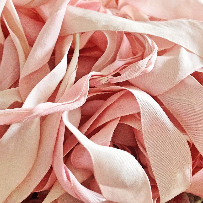 hand dyed blush pink ribbon