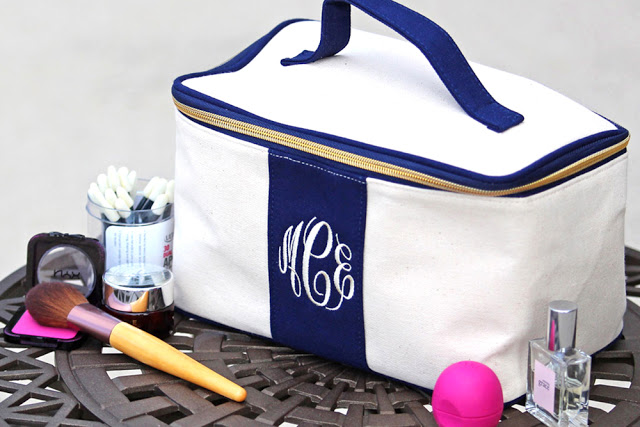 monogrammed bag for cosmetics and toiletries