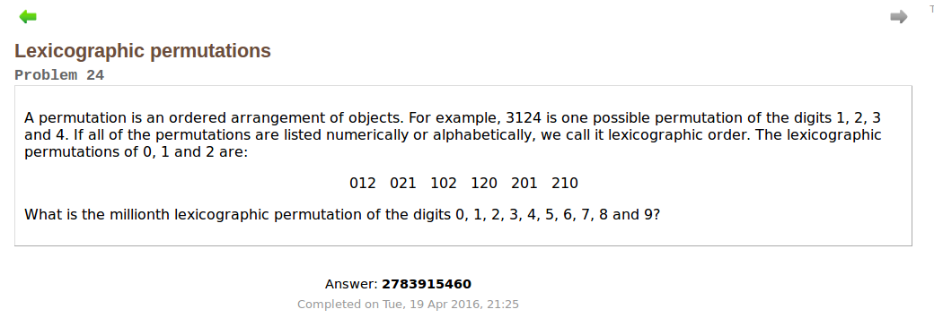 Problem 24 Project Euler Solution with python