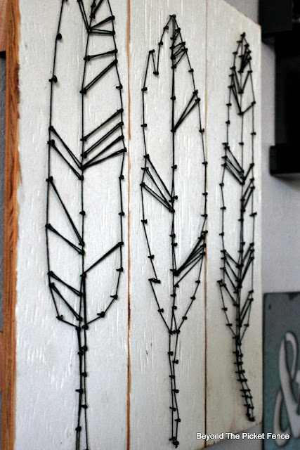string art, feathers, DIY, Target, Knock-off, http://bec4-beyondthepicketfence.blogspot.com/2015/08/knock-off-target-string-art.html