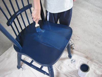 Painting a chair Benjamin Moore Deep Royal blue