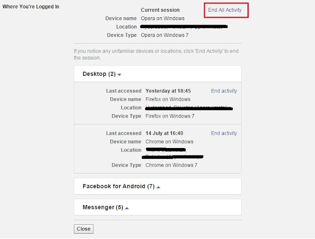 Review your logins activity log on Facebook