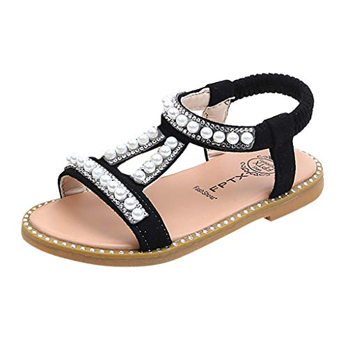 1d07805aa50d Mysky Summer Roman Pearl Crystal Decoration Beach Soft Princess Shoes  Sandals for Toddler Infant Kids Baby Girls Black 2019