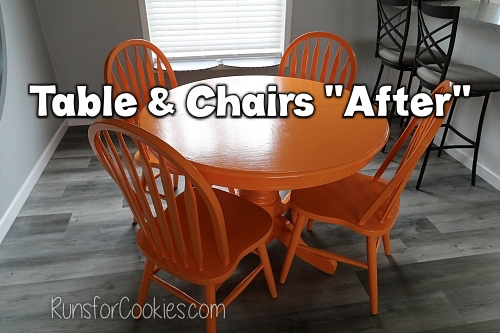 My new orange table and chairs