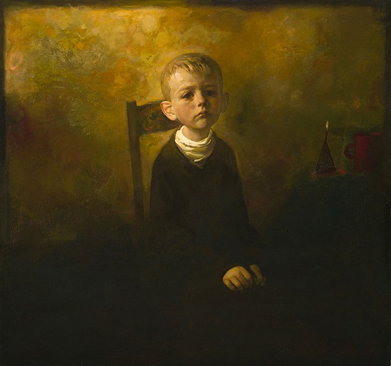 "arte contemporáneo, pinturas, ""Boy Thinking"" by Igor Melnikov, 2017."