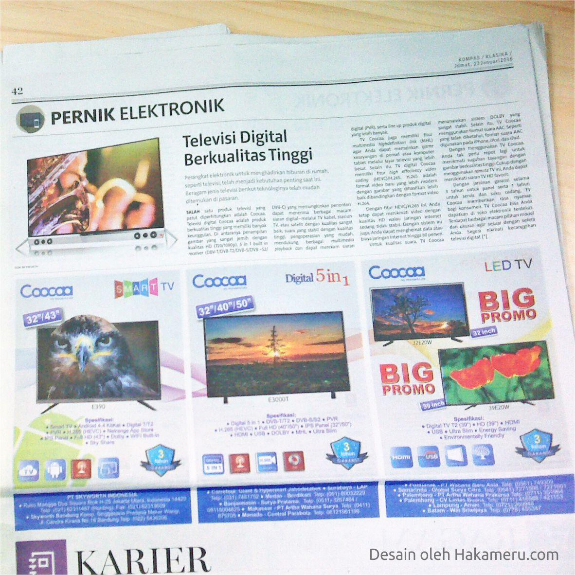 Desain iklan cetak print ad untuk perusahaan elektronik TV Skyworth - TV LED Coocaa - Jasa desain grafis online profesional HAKAMERU