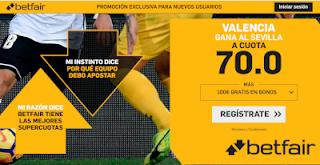 betfair supercuota Valencia gana a Sevilla 8 diciembre