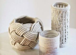 tunear, jarrones, cuerdas, floreros, manualidades, decoración