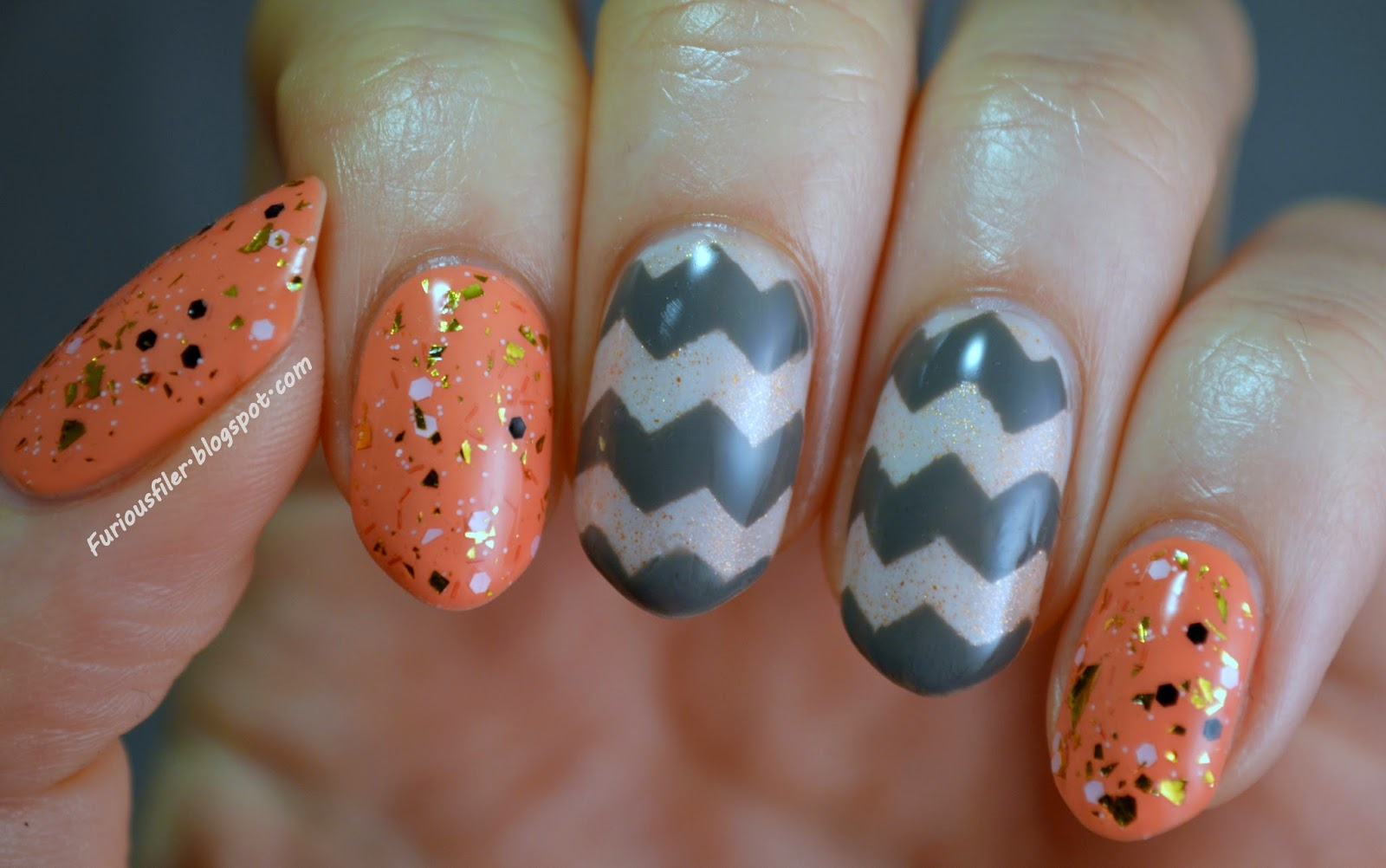 grey peach glitter chevrons colourblock