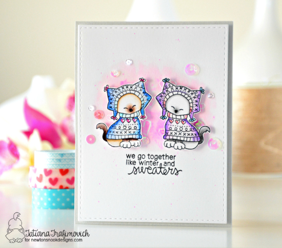 Kitties in Sweaters Card by Tatiana Trafimovich | Sweater Weather stamp set by Newton's Nook Designs #newtonsnook