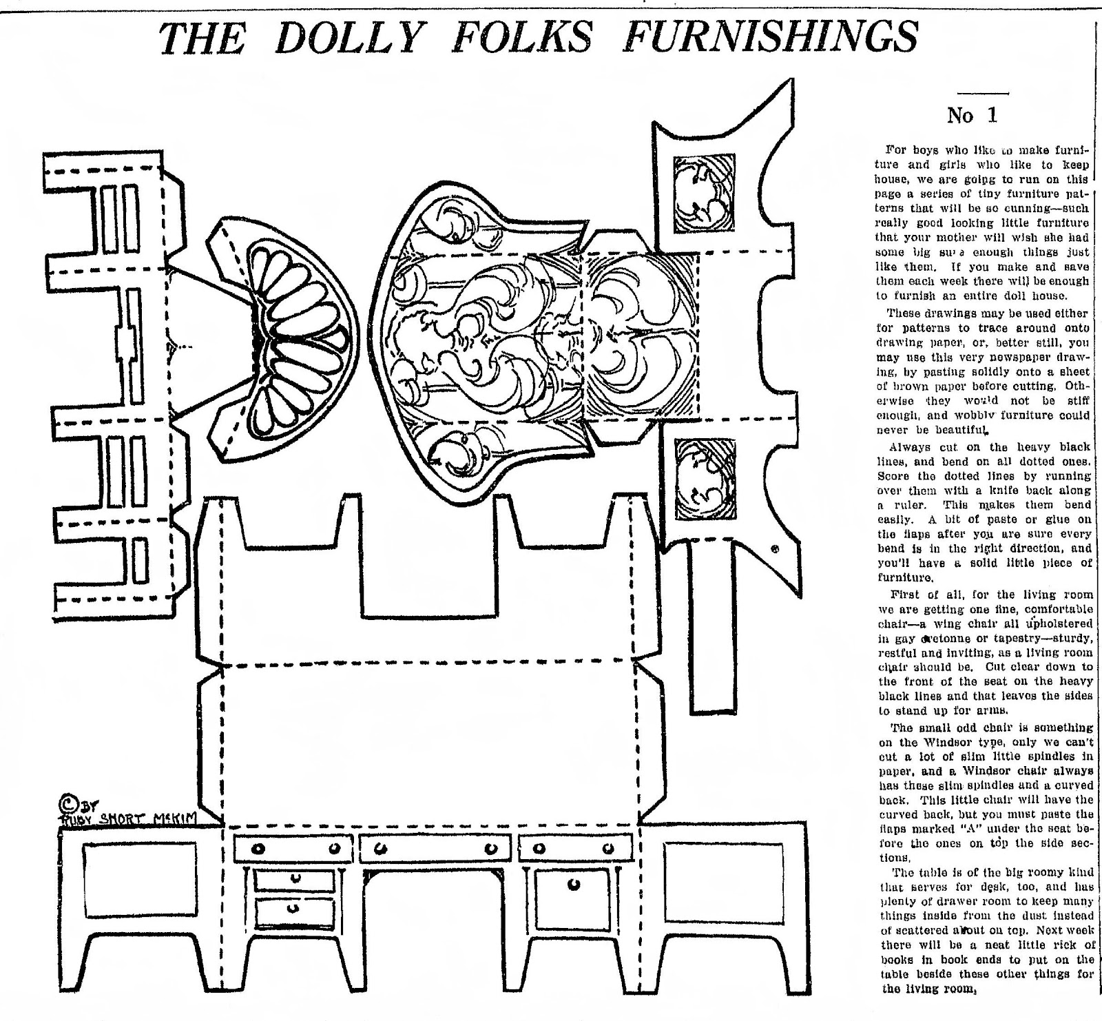 barbie coloring pages dresser | Mostly Paper Dolls: Dolly Folks Furnishings 1921