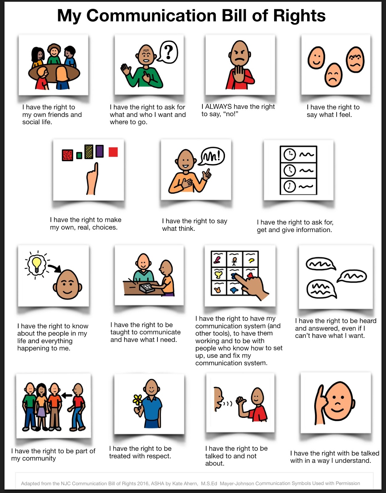 Teaching Learners With Multiple Special Needs Accessible Communication Bill Of Rights