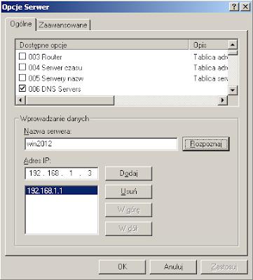 Dodawanie adresu nowego serwera DNS do opcji DHCP