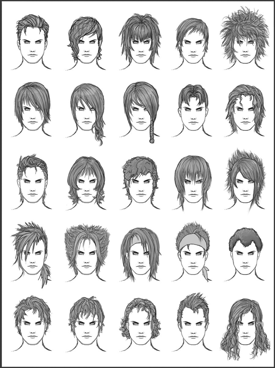 male anime hair styles como desenhar mang 225 gabaritos de cabelos 3083 | men s hair set 9 by dark sheikah d46av52