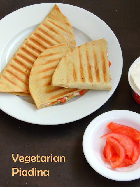 Vegetarian Piada, Piadina,Cheesy Tomato Piadina