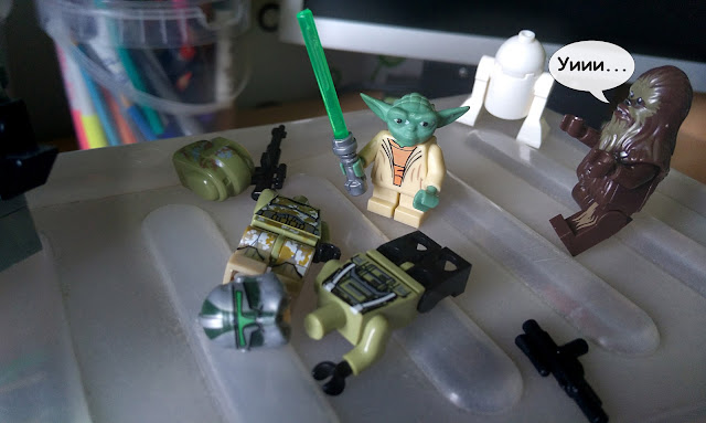 Grand master Yoda, Chubaka, clone commander Gree and clone scout kashyyyk Clone Wars