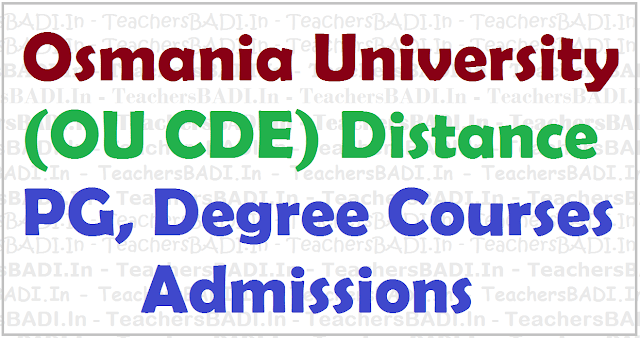 OU Distance PG, Degree/UG Admissions, Osmania University