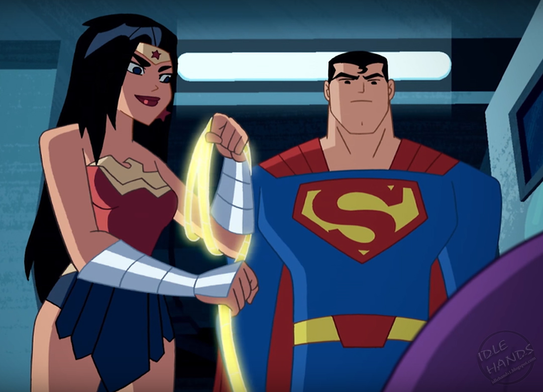 Idle hands check out a preview of justice league action - Superman wonder woman cartoon ...