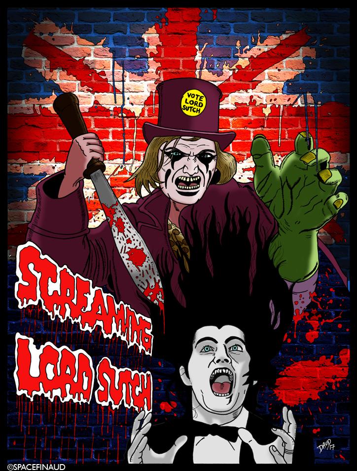 """Retournons en Angleterre et cette fois-ci sur le thème du Horror Rock avec le personnage excentrique, peu connu en France, David Edward Sutch, connu sous le nom de SCREAMING LORD SUTCH. Inspiré de Screaming' Jay Hawkins (ma prochaine illustration) et bien avant Alice Cooper.   Screaming Lord Sutch commençait toujours ses spectacles avec des cris dans les coulisses, un cercueil amené sur scène, des nanas sexy en petite tenue. Le morceau le plus connu est JACK THE RIPPER, au début des années 60.  Ses musiciens, les SAVAGES, étaient habillés en tarzan et parfois même en légionnaires romains. A noter aussi que Ritchie Blackmore ex Deep Purple en faisait partie à ses débuts.  Autre chose, en 1970,  des musiciens prestigieux comme Jimmy Page, John Bohnam, Noel Redding, Keith Moon... avaient participé à l'album Lord Sutch and Heavy friends, que je trouve personnellement bon.  J'ai appris qu'en 1998 la BBC avait désigné cet album comme """"pire album de tous les temps"""". je ne suis pas du tout d'accord. il y'a de très bons morceaux. Même si ce n'est pas un chef-d'oeuvre, ça reste un album intéressant à écouter, du hard Rock.  Lord Sutch était aussi un homme politique. Dépressif, il est décédé en 1999 par pendaison."""
