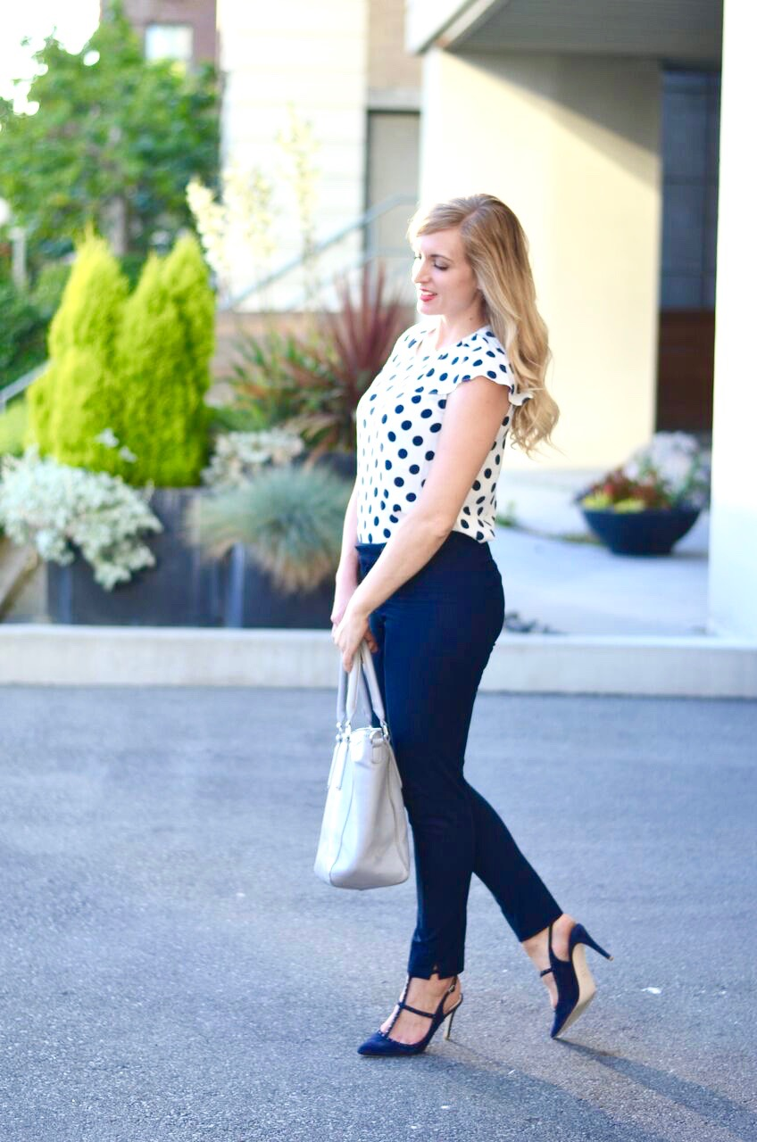 office approrpriate polka dot outfit