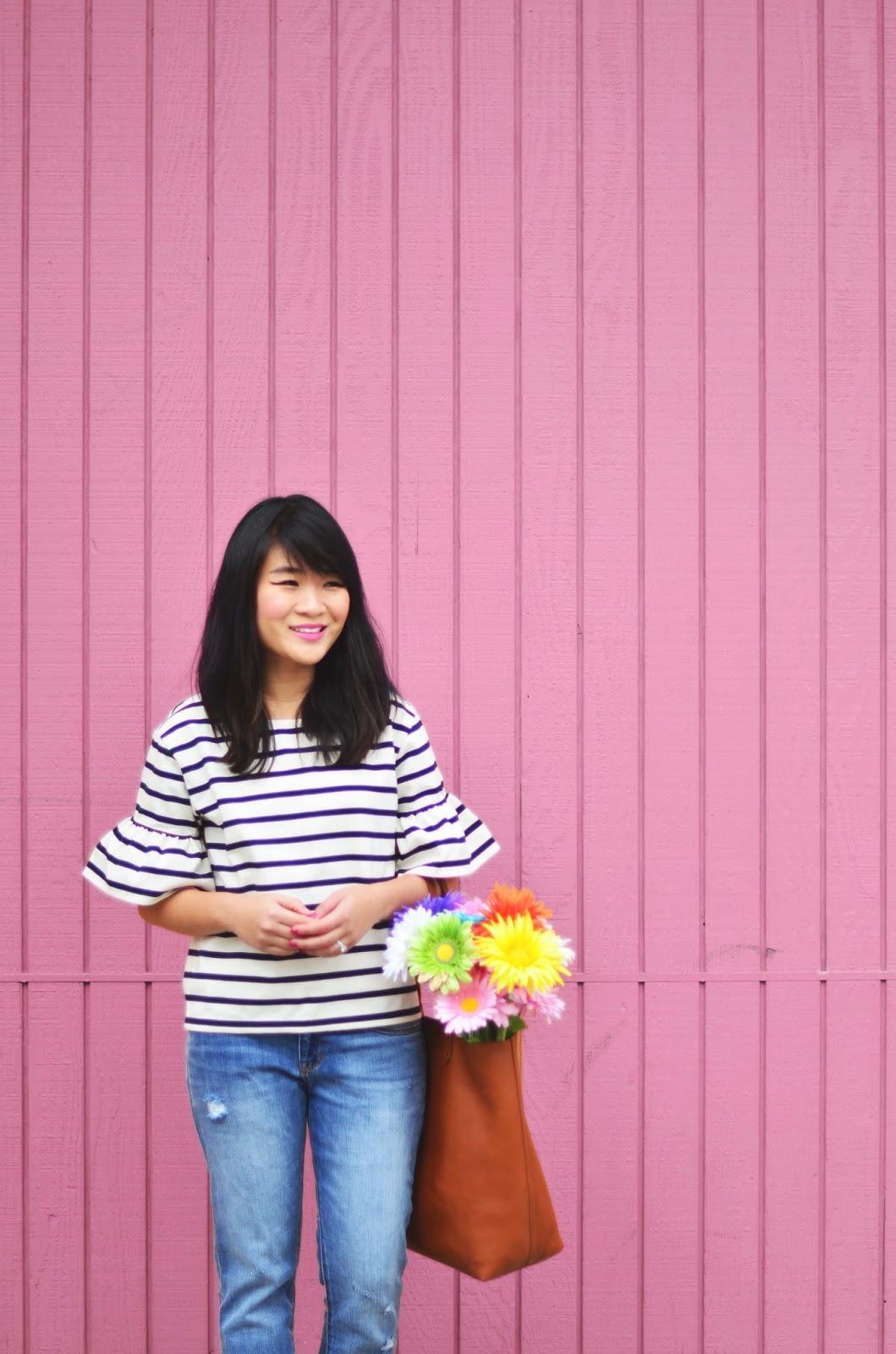 pink wall jcrew stripe bell sleeve shirt madewell transport tote