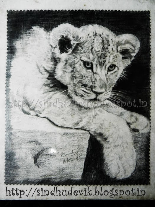 A lion cub in pencil work