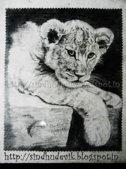 A lion cub in pencil work