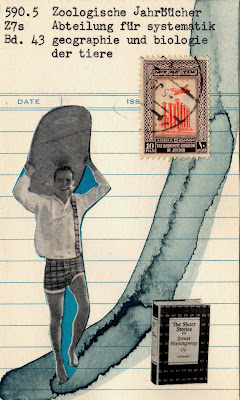 surfer postage stamp the short stories of Earnest Hemingway book library card Dada Fluxus mail art collage