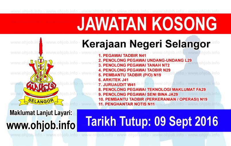 Jawatan Kerja Kosong Kerajaan Negeri Selangor logo www.ohjob.info september 2016