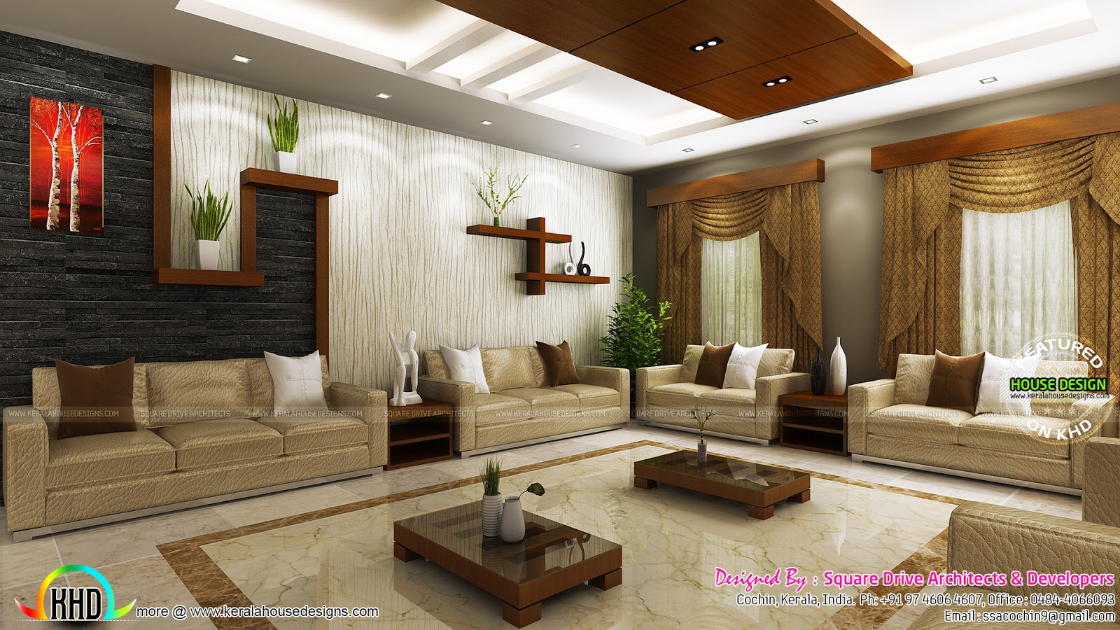 Stunning home interiors in cochin kerala home design and for Kerala home interior