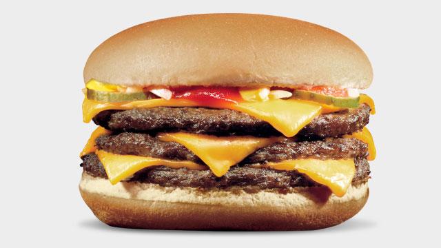 dining eating off a mcdonalds secret menu triple cheese burger