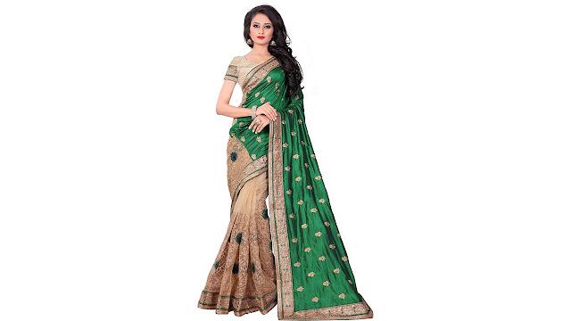 M.S.Retail Embroidered Bollywood Silk, Net Saree  (Dark Green)