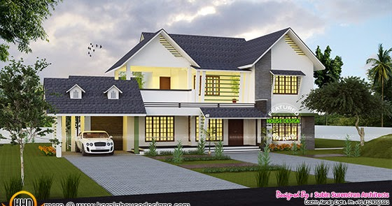 Cute western style home architecture kerala home design for Western style house plans