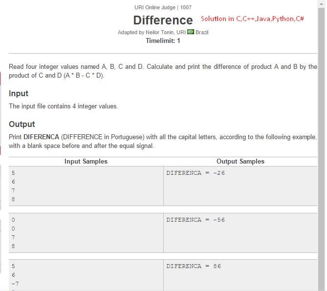 URI Online Judge Solution 1007 Difference - Solution in C, C++, Java, Python and C#