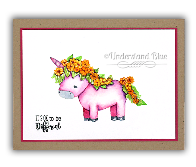 No line watercolor unicorn by Understand Blue