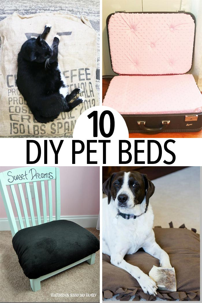 Adorable DIY pet bed projects for dogs and cats of all sizes! No matter what your style you'll find a dog bed or cat bed your pet will love. Includes no sew dog beds, upcycle projects, easy cat beds, and so much more.