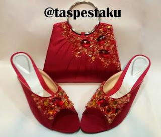 High Heels dan Tas Pesta Merah Maroon Pesanan Customer