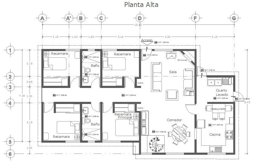 Planos generales ejes en planos for Ejes arquitectonicos